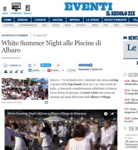 Orchestra di 17 elementi White Summer Night alle Piscine di Albaro Liguria eventi Il Secolo XIX