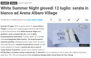 White Summer Night giovedì 12 luglio serata in bianco ad Arena Albaro Village Genova